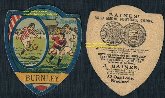 1910s Burnley FC Baines trade card
